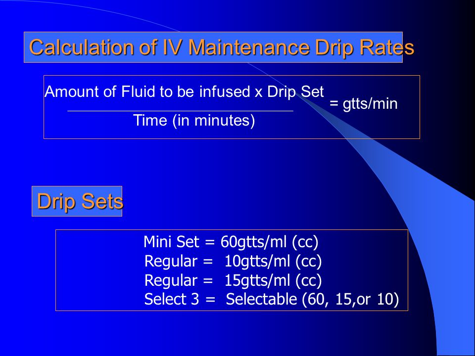 Amount of Fluid to be infused x Drip Set
