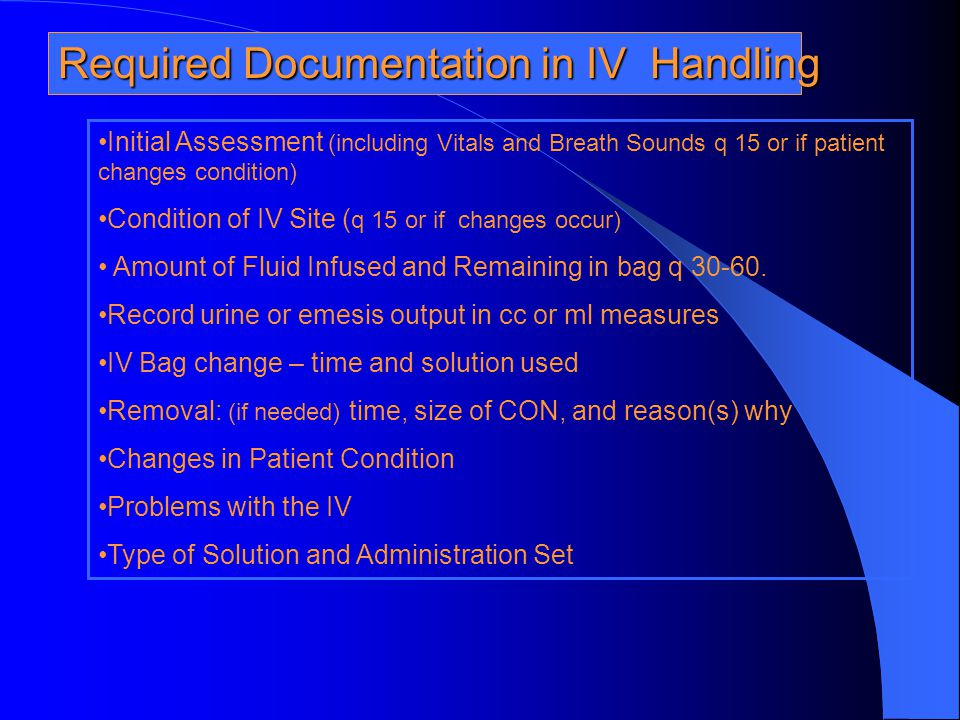Required Documentation in IV Handling