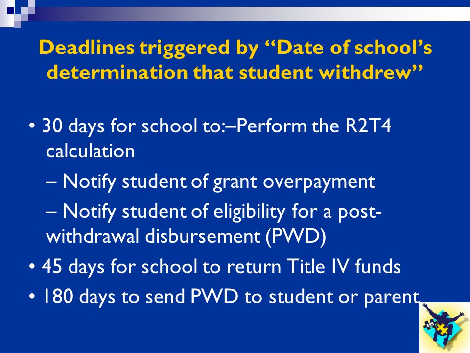 Deadlines triggered by Date of school's determination that student withdrew