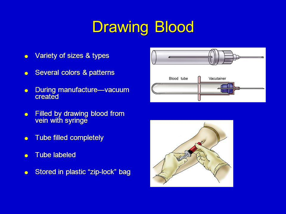Drawing Blood Variety of sizes & types Several colors & patterns