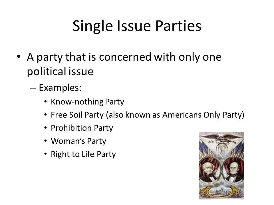 Single Issue Parties A party that is concerned with only one political issue. Examples: Know-nothing Party.