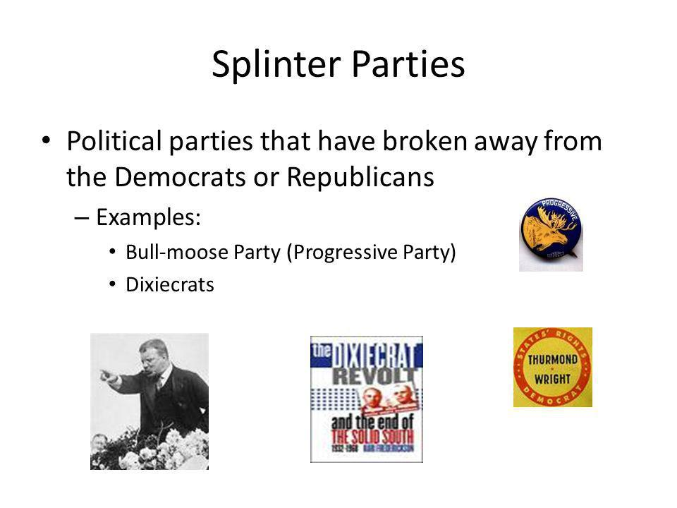 Splinter Parties Political parties that have broken away from the Democrats or Republicans. Examples:
