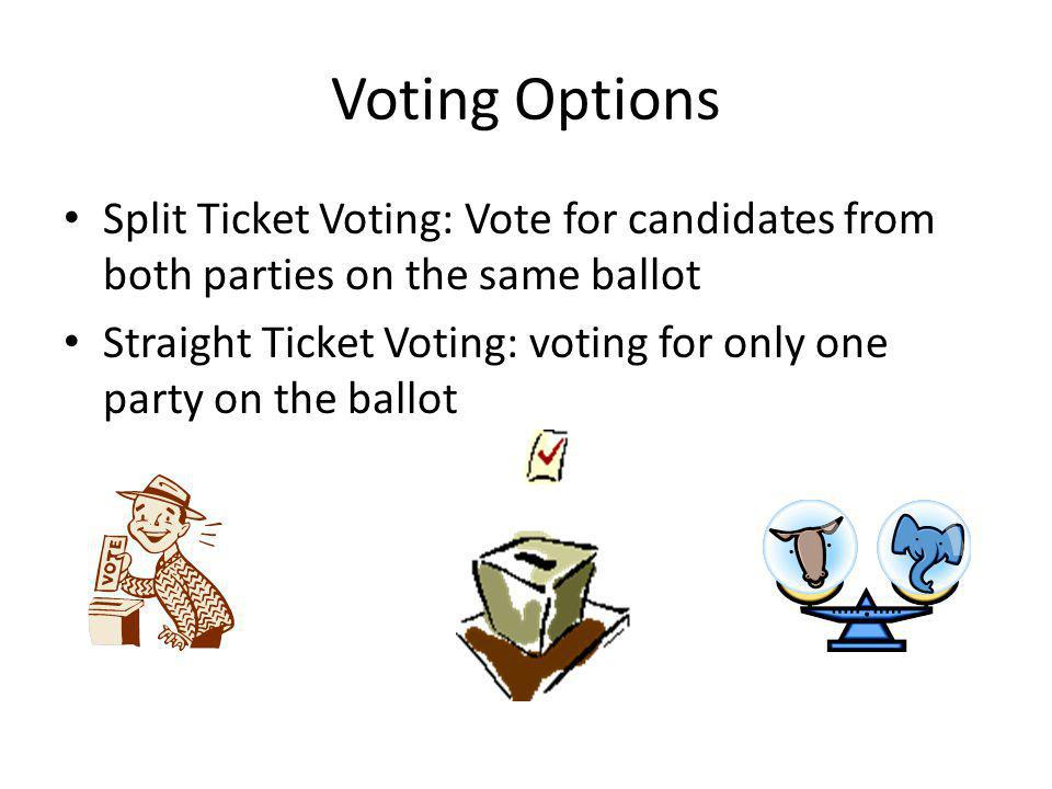Voting Options Split Ticket Voting: Vote for candidates from both parties on the same ballot.