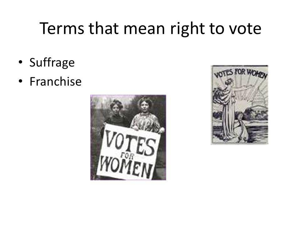 Terms that mean right to vote