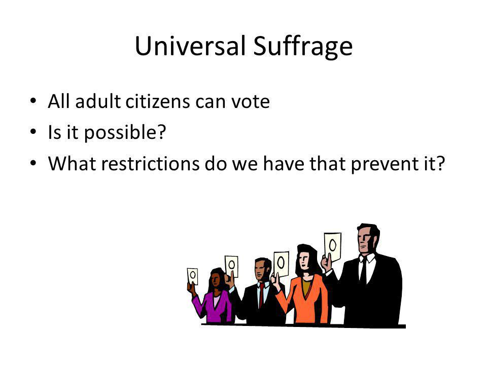 Universal Suffrage All adult citizens can vote Is it possible