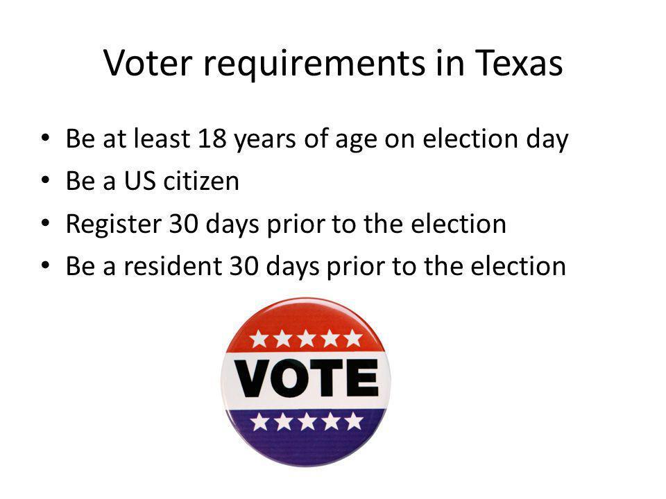 Voter requirements in Texas