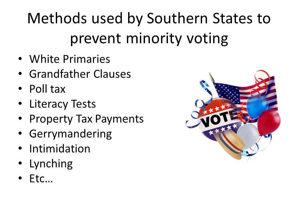 Methods used by Southern States to prevent minority voting