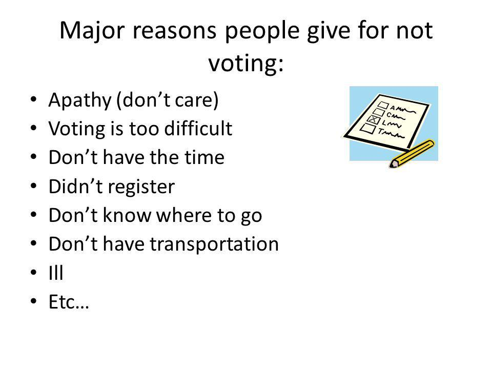 Major reasons people give for not voting: