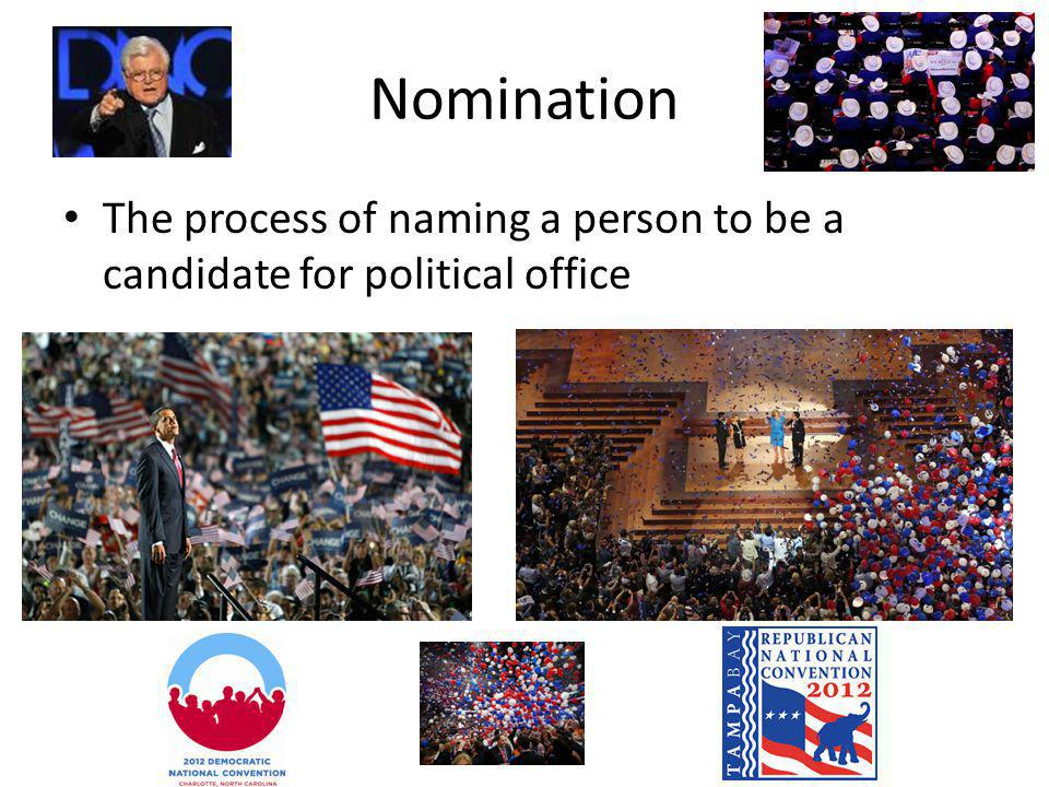 Nomination The process of naming a person to be a candidate for political office