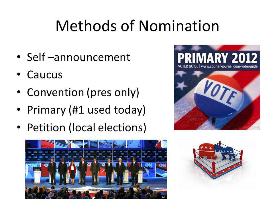 Methods of Nomination Self –announcement Caucus Convention (pres only)