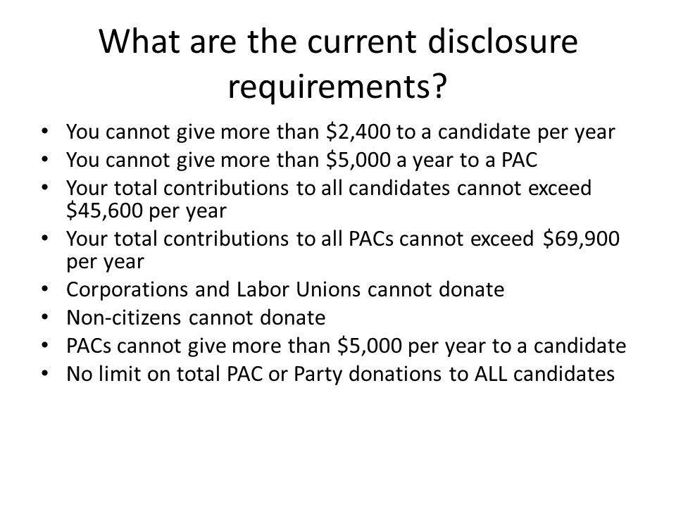 What are the current disclosure requirements
