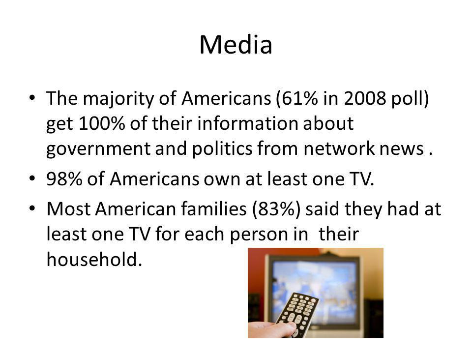 Media The majority of Americans (61% in 2008 poll) get 100% of their information about government and politics from network news .