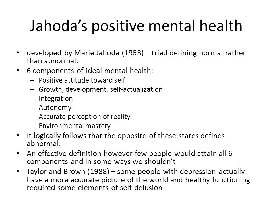 Jahoda's positive mental health