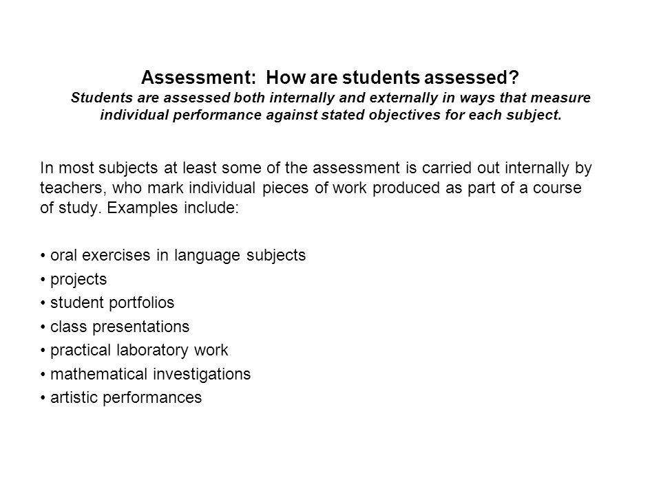 Assessment: How are students assessed