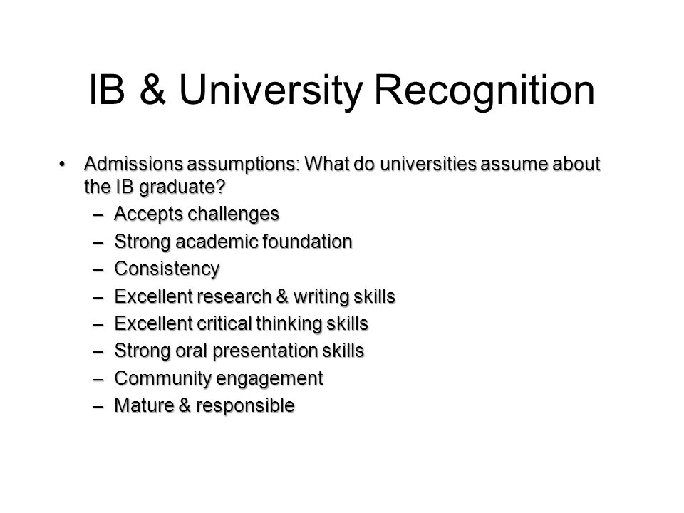 IB & University Recognition