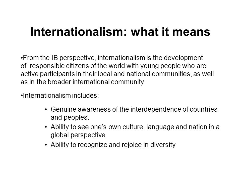 Internationalism: what it means