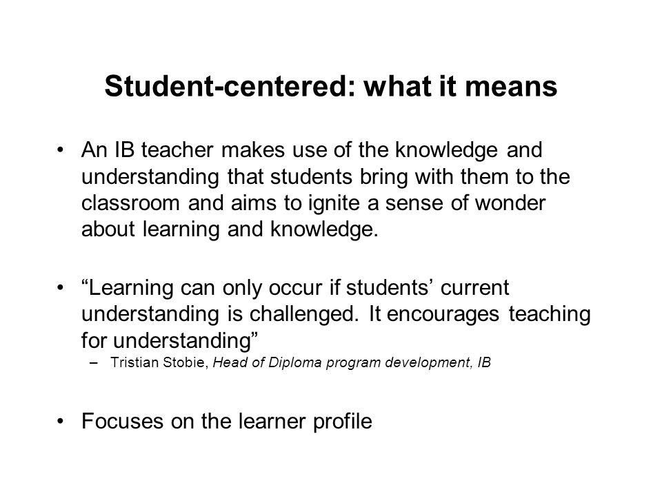 Student-centered: what it means