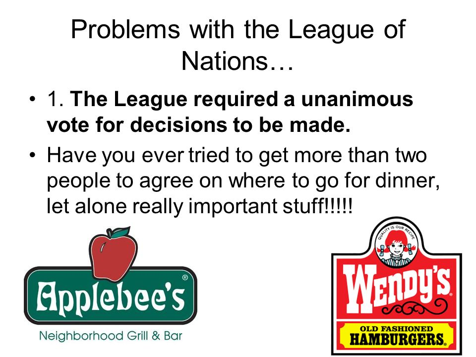 Problems with the League of Nations…