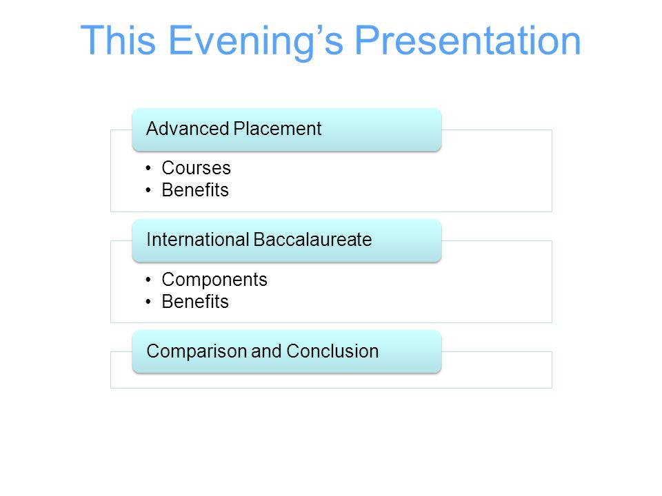 This Evening's Presentation