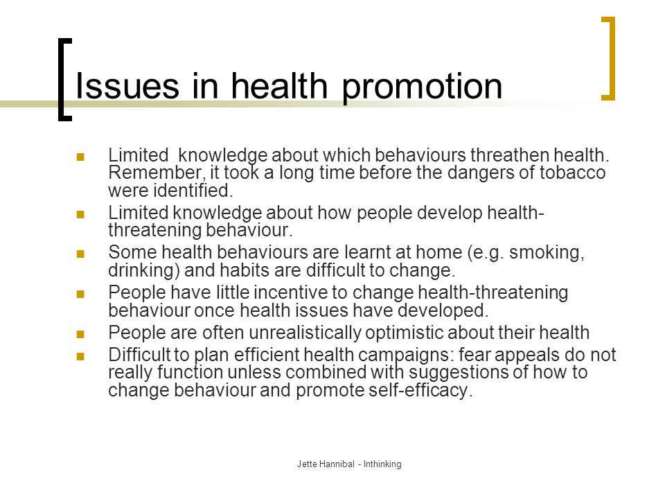 Issues in health promotion