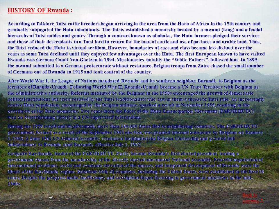 HISTORY OF Rwanda :