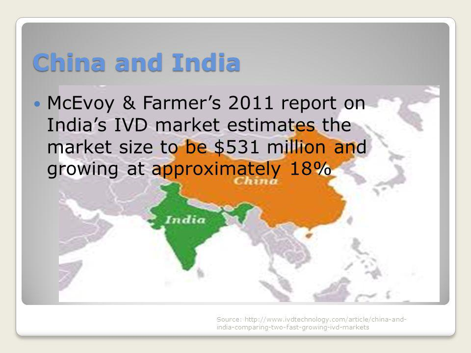 China and India McEvoy & Farmer's 2011 report on India's IVD market estimates the market size to be $531 million and growing at approximately 18%