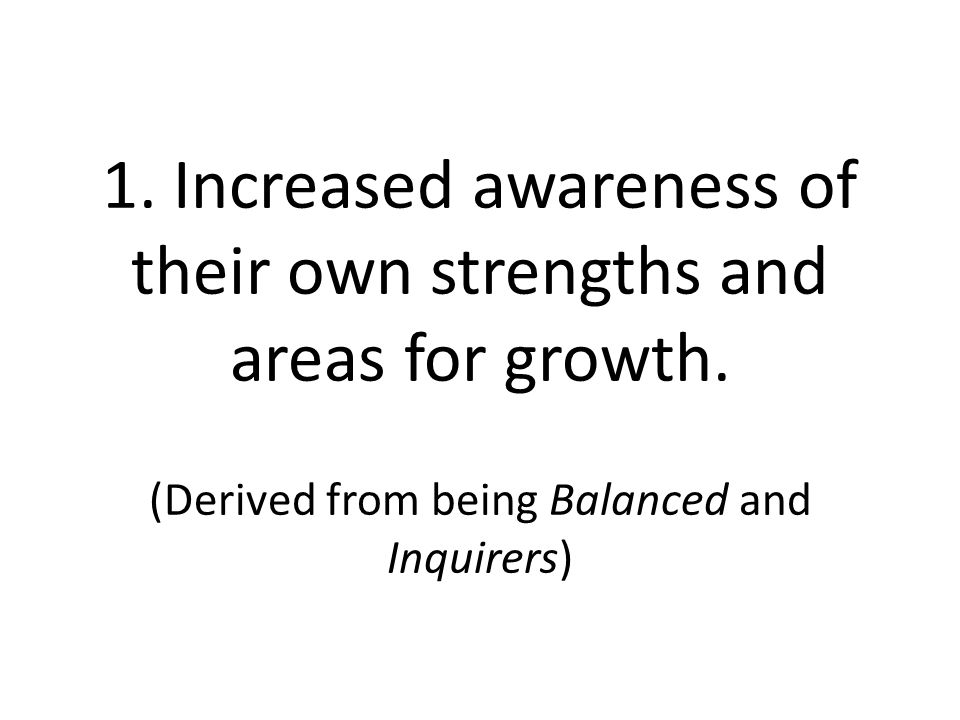 1. Increased awareness of their own strengths and areas for growth