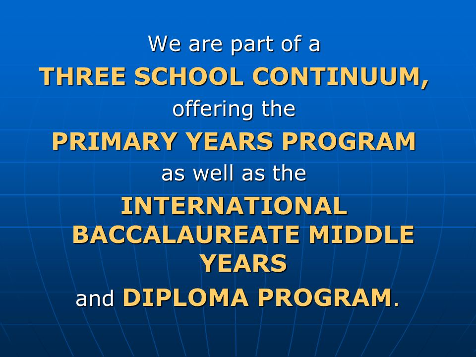 INTERNATIONAL BACCALAUREATE MIDDLE YEARS