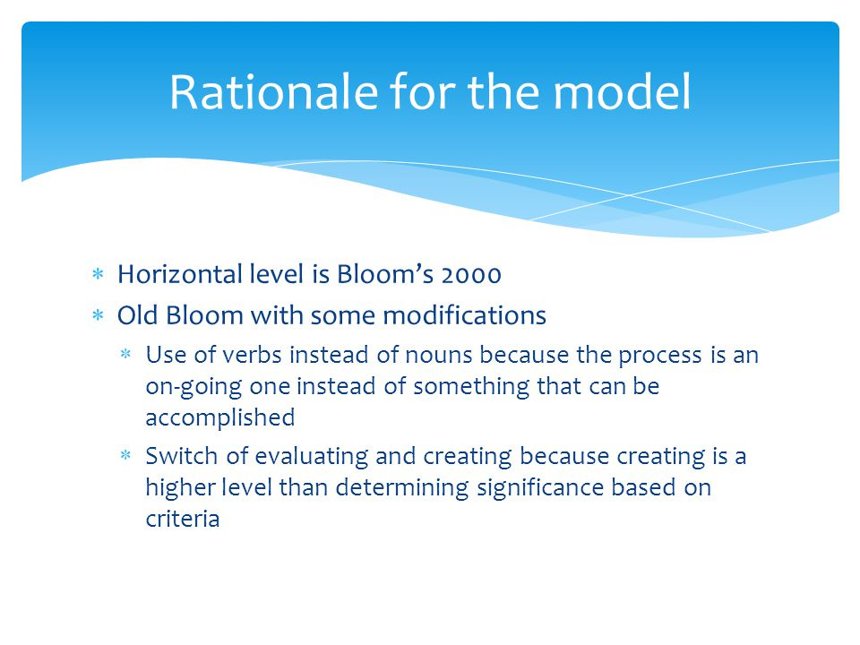 Rationale for the model