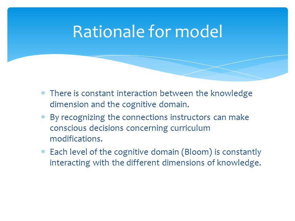 Rationale for model There is constant interaction between the knowledge dimension and the cognitive domain.