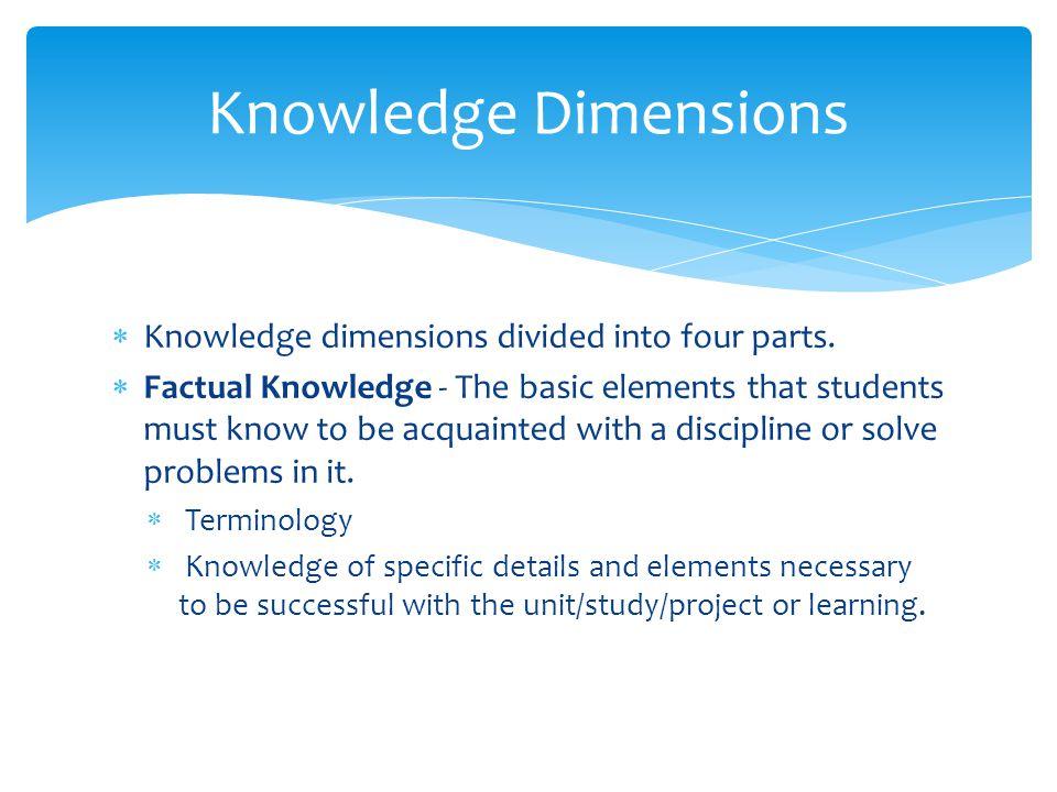 Knowledge Dimensions Knowledge dimensions divided into four parts.