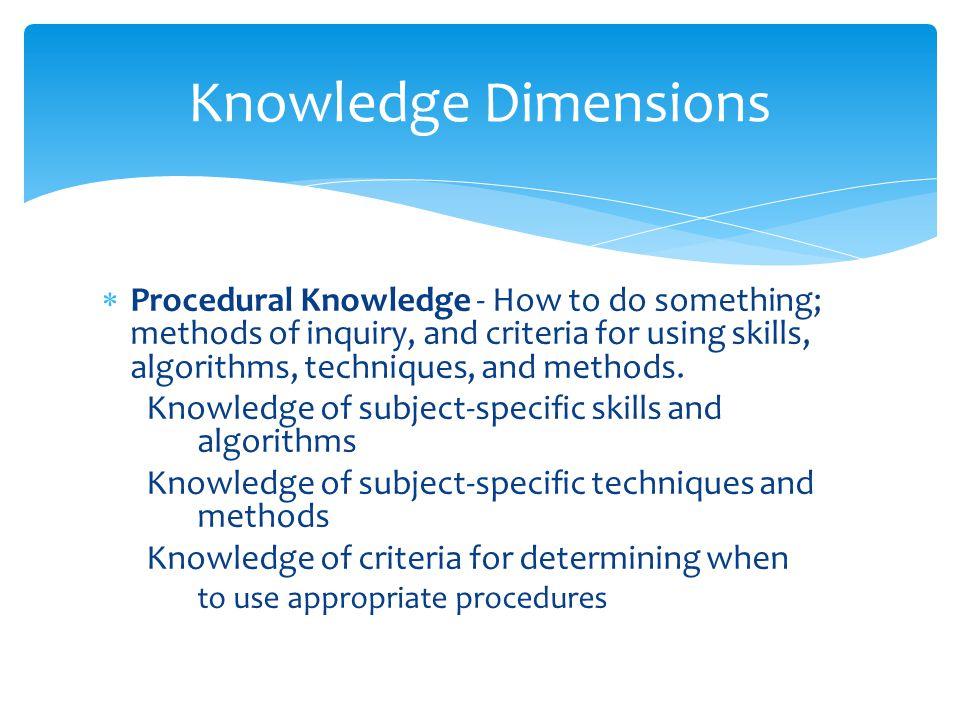 Knowledge Dimensions