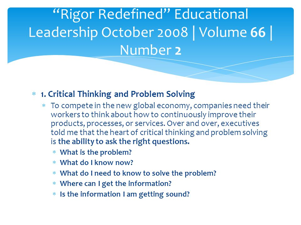 Rigor Redefined Educational Leadership October 2008 | Volume 66 | Number 2
