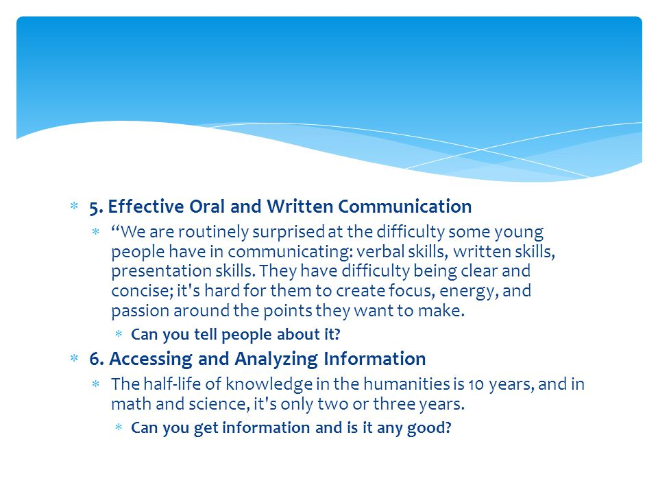 5. Effective Oral and Written Communication