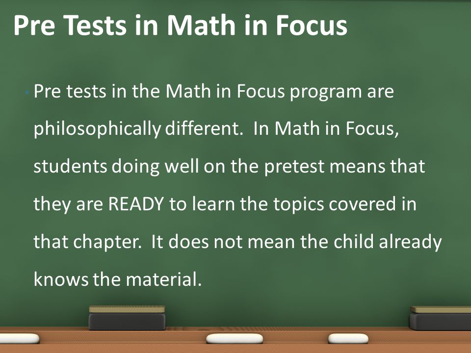 Pre Tests in Math in Focus