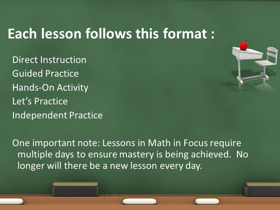 Each lesson follows this format :