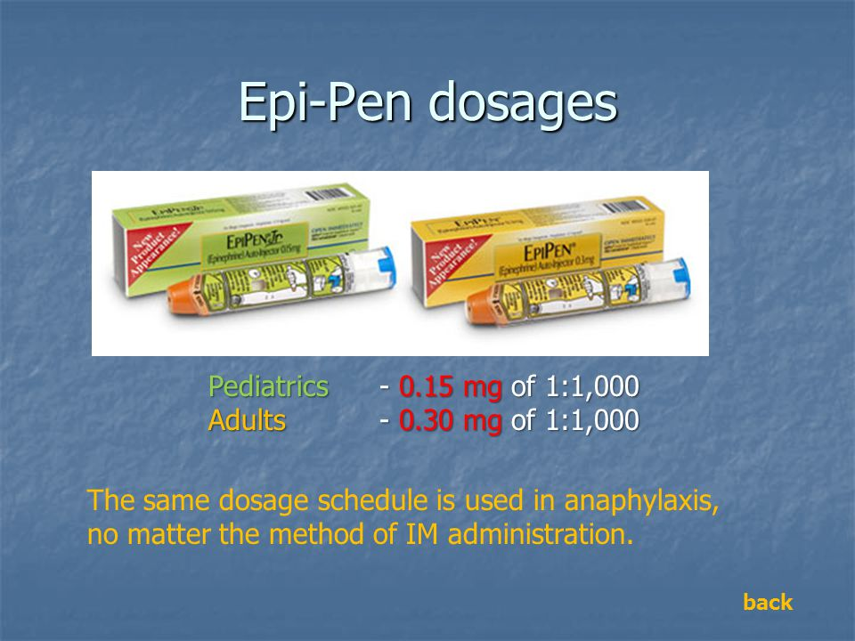 Epi-Pen dosages Pediatrics - 0.15 mg of 1:1,000