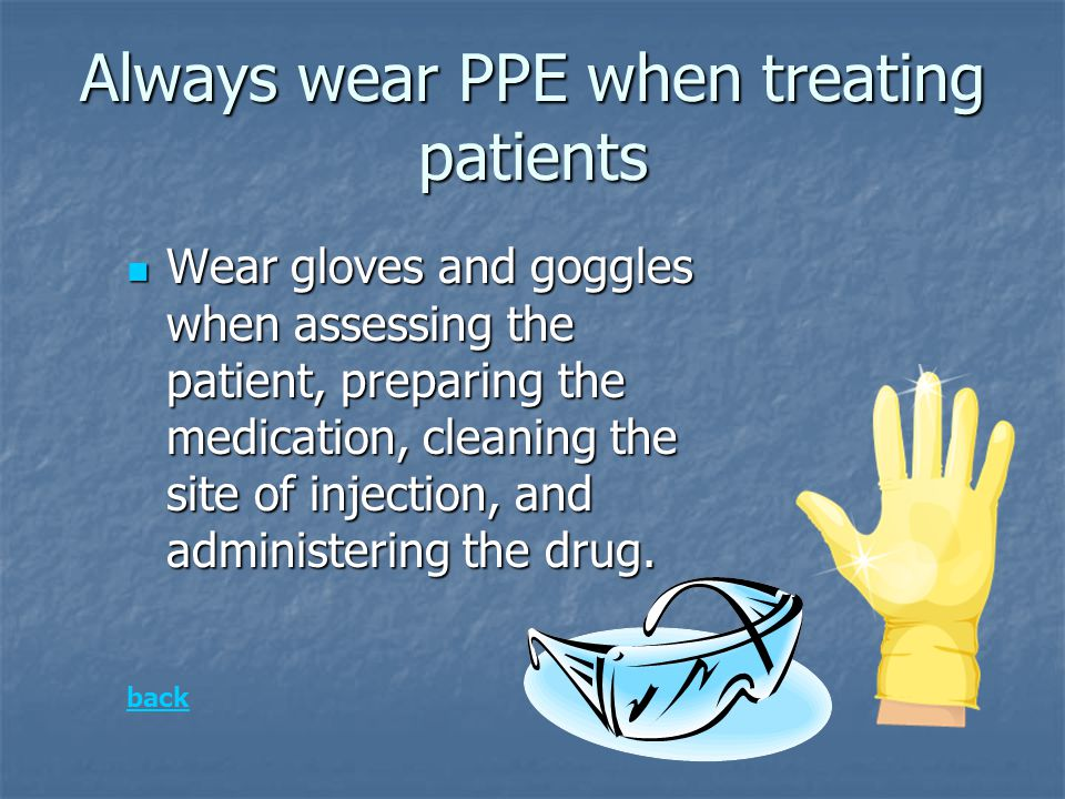 Always wear PPE when treating patients