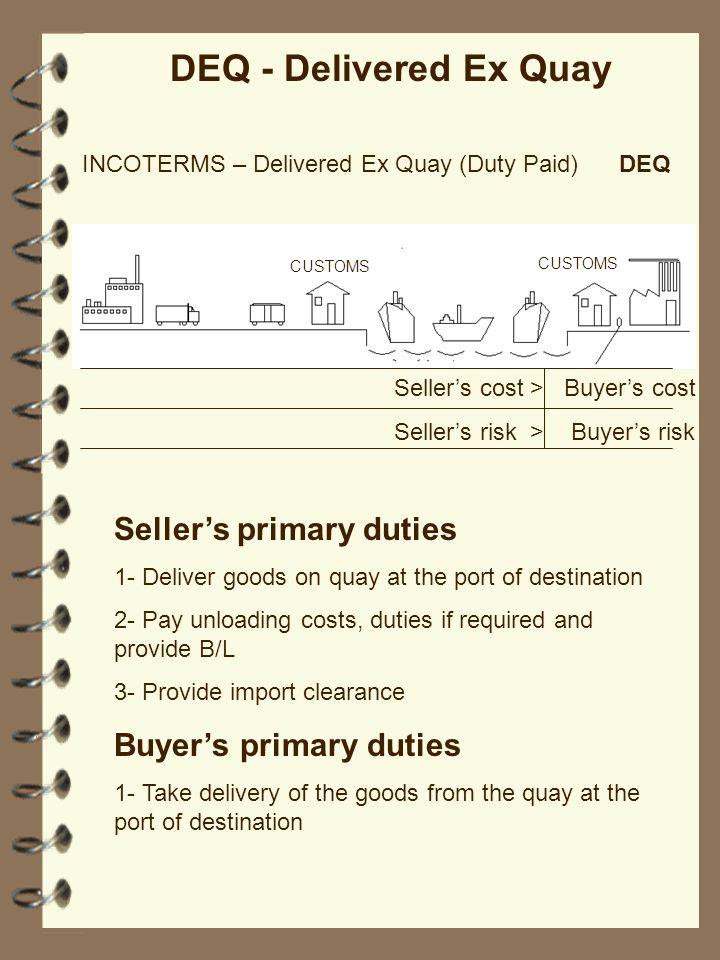 DEQ - Delivered Ex Quay Seller's primary duties Buyer's primary duties