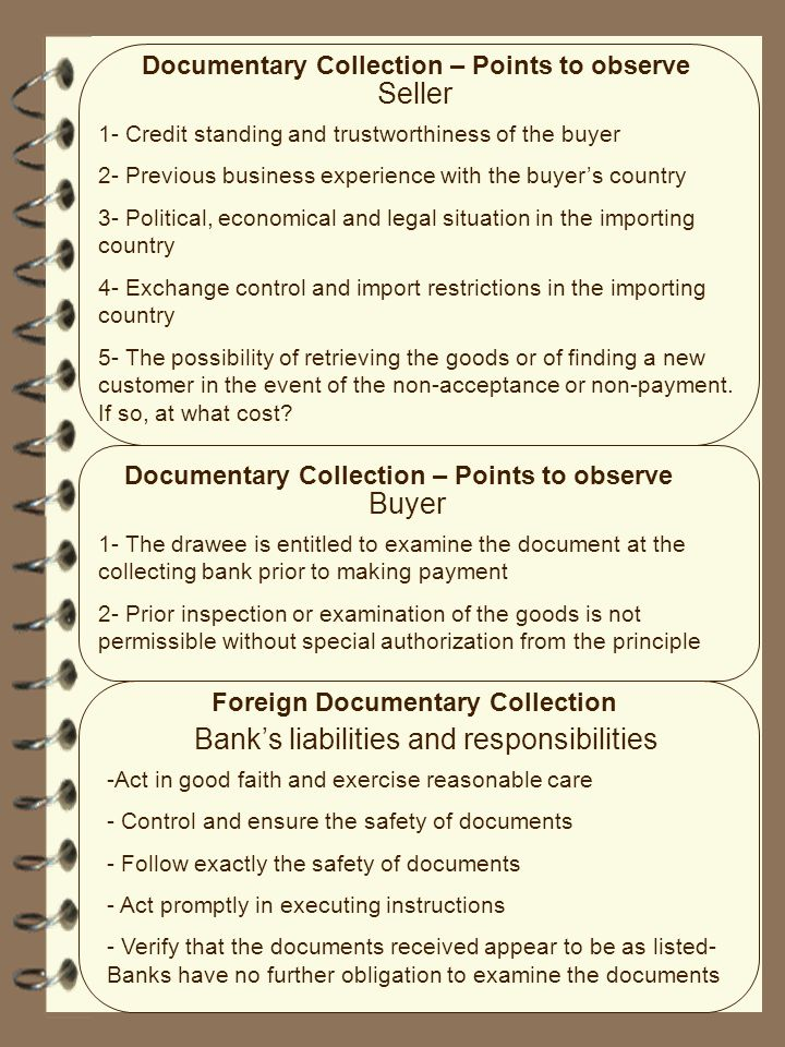 Bank's liabilities and responsibilities