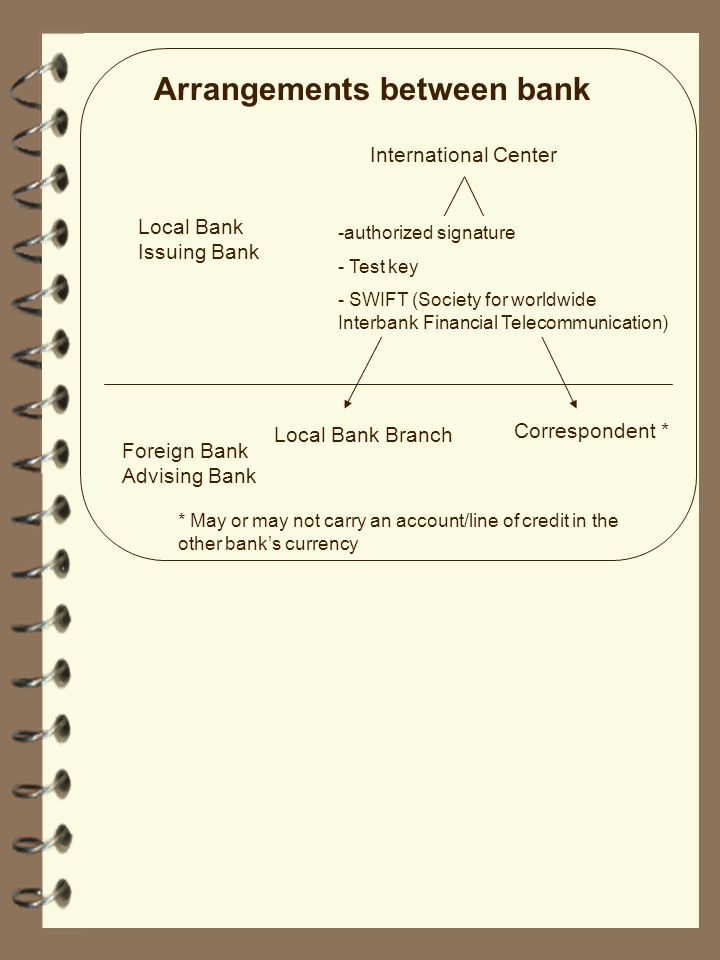 Arrangements between bank