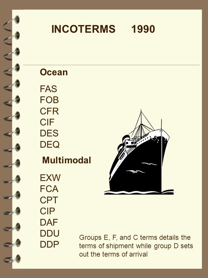 INCOTERMS 1990 Ocean FAS FOB CFR CIF DES DEQ