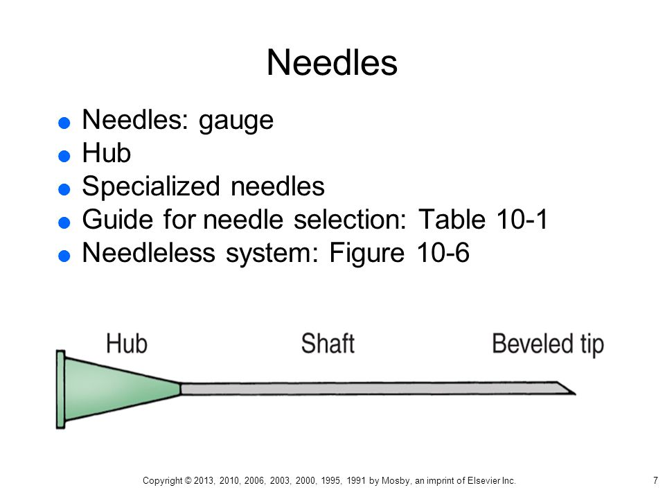 Needles Needles: gauge Hub Specialized needles