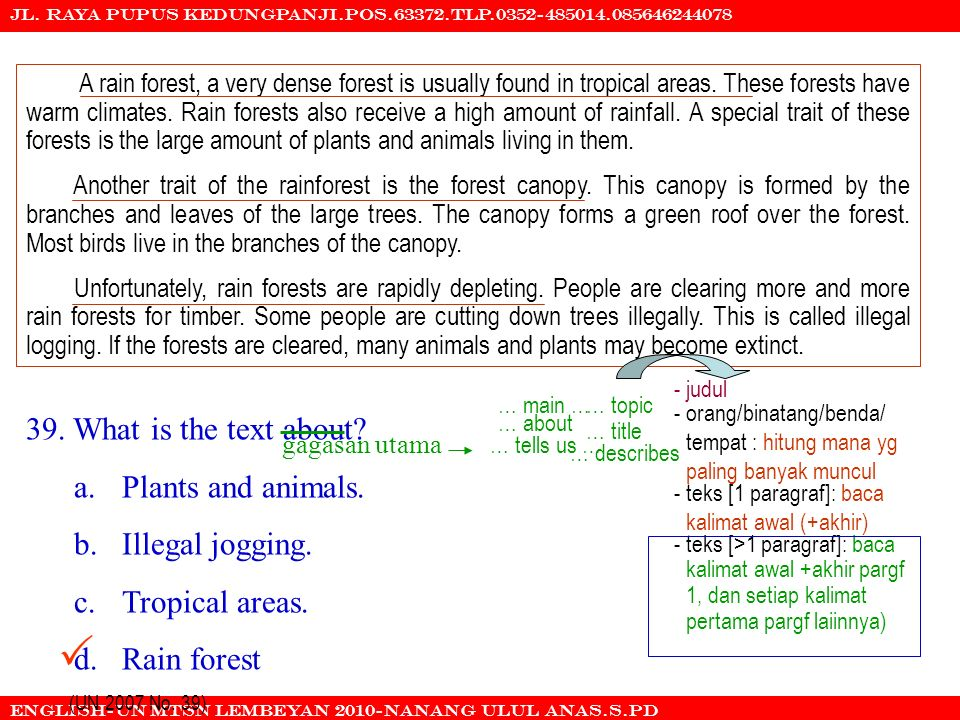  39. What is the text about a. Plants and animals.