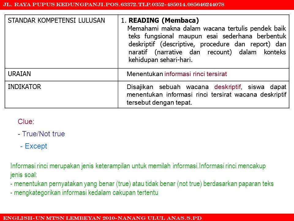 - mengkategorikan informasi kedalam cakupan tertentu