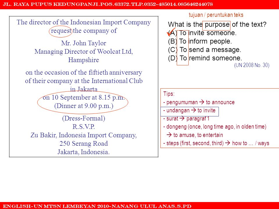  The director of the Indonesian Import Company request the company of