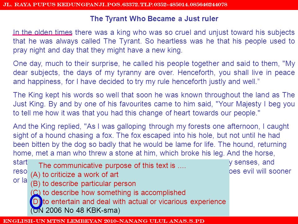 The Tyrant Who Became a Just ruler