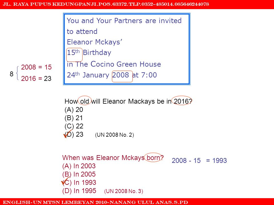   You and Your Partners are invited to attend Eleanor Mckays'