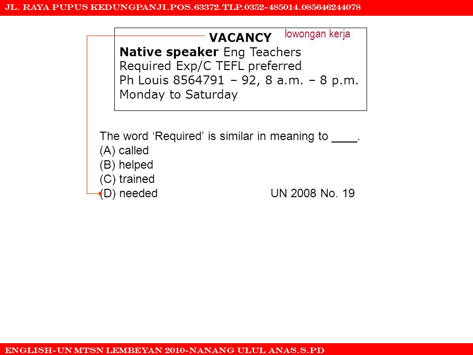 Native speaker Eng Teachers Required Exp/C TEFL preferred