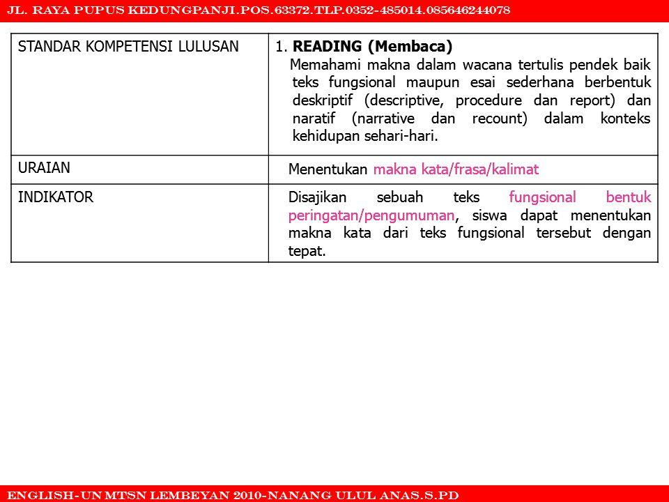 STANDAR KOMPETENSI LULUSAN 1. READING (Membaca)